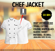 Chef Jacket White With Black Tipping(Young Cutting)-CU024