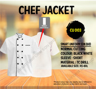 Chef Jacket White With Black Piping (Normal Cutting) - CU003