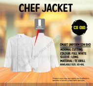 Chef Jacket Long Sleeve Plain White (Normal Cutting)