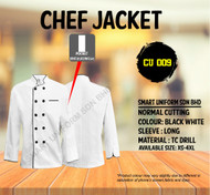 Chef Jacket White With Black Piping  (Normal Cutting)-CU009