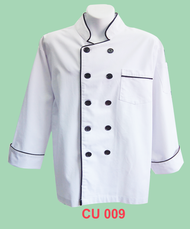 Chef Jacket White With Black Piping  (Normal Cutting)