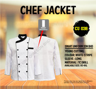 White Jacket with Stripe 2 Lines (Normal Cutting)-CU038