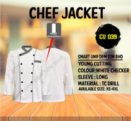 White Jacket with Checker 2 Lines (Normal Cutting)-CU039