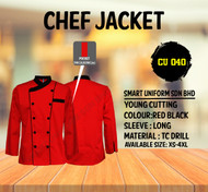 Red Jacket with Black Piping 2 Lines (Normal Cutting)-CU040