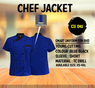 Black Jacket With Blue Piping 2 Lines (Young Cutting)-CU041