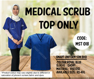 Scrub Top Only Royal Blue With Piping Black (Unisex)