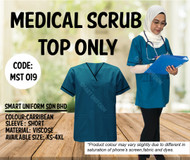 Scrub Top Only Caribbean With Piping Black (Unisex)