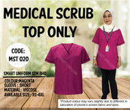 Scrub Top Only Magenta With Piping Black (Unisex)