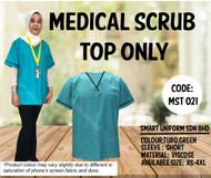Scrub Top Only Turquoise Green With Piping Black (Unisex)