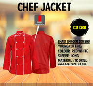 Red Jacket With White Piping 2 Lines( Young Cutting )-CU022