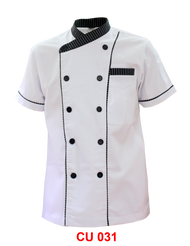 White Jacket Black Stripe Piping ( Young Cutting )