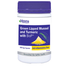 Blooms Green lipped Mussel & Turmeric - 100 Capsules