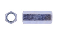 """5/8-11 / 1/2-13 x W13/16"""" x L1-1/4"""" Reducing Coupling Nut , Low Carbon Steel, Zinc Clear (Box of 400)"""