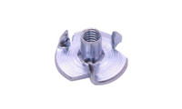 """#6-32 x 1/4"""" 3 Prong Tee Nut, Low Carbon Steel, Zinc Clear (Box of 10000)"""
