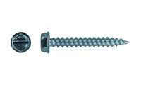 """#10-12 x 1 Hex Washer Head Slotted Self Piercing Screw, Steel Zinc Clear 5/16"""" AF (Box of 5000)"""
