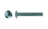 "#10-24 x 1-1/4"" Carriage Bolt Low Carbon Steel, Zinc Clear - FT (Package of 250)"