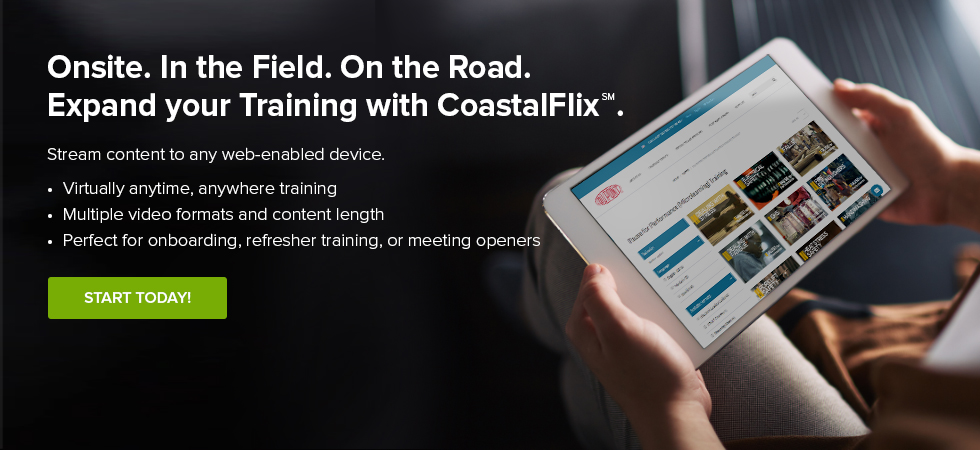 CoastalFlix, stream content to any web-enabled device, tablet showing the CoastalFlix website