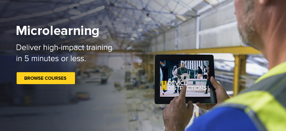 Microlearning, deliver high impact training in 5 minutes or less, worker holding a tablet that shows a Microlearning course