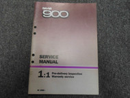 1985 SAAB 900 1:1 Pre Delivery Inspection Warranty Service Shop Manual BOOK 85
