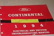 1994 LINCOLN CONTINENTAL Electrical Wiring EVTM Service Shop Manual EWD 94 EWD