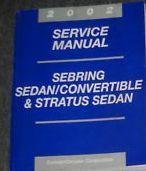 2002 CHRYSLER SEBRING CONVERTIBLE Service Shop Repair Manual FACTORY DEALERSHIP