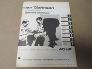 1971 Johnson Outboards Service Manual 40 HP R RL E EL 71 OEM Boat
