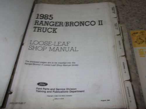 1985 Ford Ranger Bronco Ii Truck Service Shop Repair Manual Set Oem Factory 85