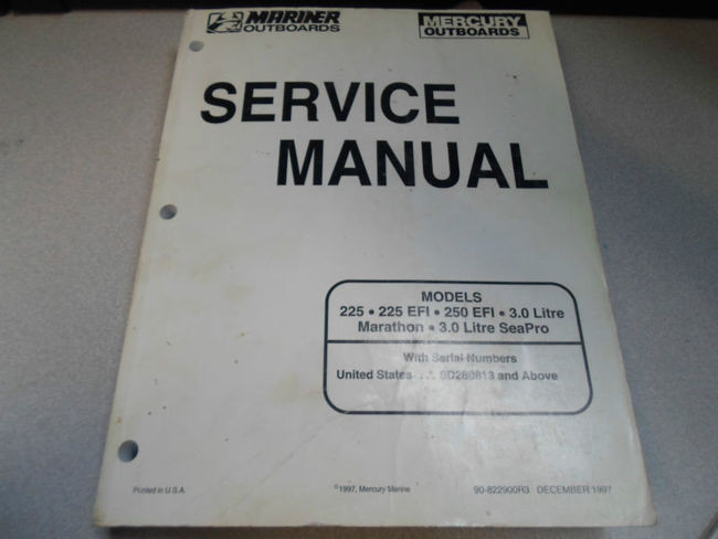 1998 Mercury Mariner Outboards Service Manual 225 250 90