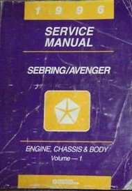 1996 Chrysler Sebring & Dodge Avenger ENGINE CHASSIS & BODY Service Shop Manual