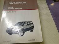 1999 LEXUS LX470 LX 470 Service Repair Shop Manual VOLUME 1 ONLY DEALERSHIP BOOK