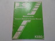1983 Kawasaki KX60 Motorcycle Owners Manual & Service Manual MINOR WEAR OEM 83