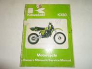 1981 Kawasaki KX80 Motorcycle Owners Manual & Service Manual DAMAGED FADED OEM