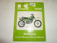 1980 Kawasaki KDX80 Motorcycle Owners Manual & Service Manual WRITING ON COVER