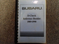 1989 1990 Subaru D Check Reference Booklet Repair Shop Manual FACTORY OEM BOOK