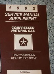 1992 92 RAM VAN WAGON Compressed Natural Gas Rear Wheel Service Shop Manual