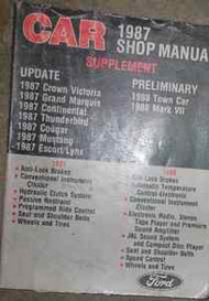 1987 Mercury Cougar LYNX Grand Marquis Service Shop Repair Manual Supplement