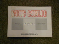 2001 DAEWOO LEGANZA Illustrated Service Parts Catalog Manual FACTORY OEM BOOK 01