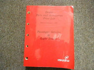 1995 ISUZU Dealer Parts and Accessories Price List Service Manual FACTORY OEM