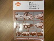 1988 Nissan Product Line Technical Bulletins Service Repair Shop Manual 88