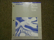 1998 HYUNDAI Parts Price List Manual APRIL Scoupe Excel FACTORY OEM BOOK 98