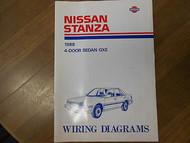 1988 Nissan Stanza Wiring Diagram 4 Door Sedan GXE Service Repair Shop Manual 88