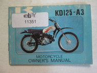 1977 Kawasaki KD125-A3 Motorcycle Owner's Manual KAWASAKI KD125-A3 WATER DAMAGED