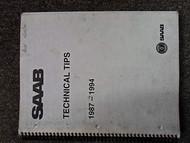 1987 89 91 1994 Saab All Models Technical Tips Manual FACTORY OEM BOOK 87 94