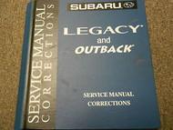 2002 Subaru Legacy Service Repair Shop Manual Corrections FACTORY OEM BOOK 02