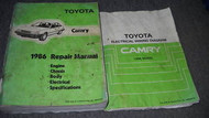 1986 Toyota Camry Service Repair Shop Workshop Manual Set 86 W Wiring Diagram