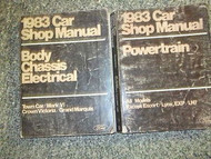1983 FORD LINCOLN TOWN CAR Service Shop Repair Manual SET X 2 BOOKS