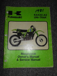 1981 Kawasaki KX420-A2 UNITRAK Owners Manual & Service Manual WORN WATER DAMAGED