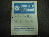 1973 Chrysler Outboard 25 HP Parts Catalog Electric Sta
