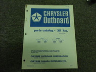 1970 Chrysler Outboard 35 HP Parts Catalog Manual Tille