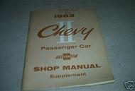1963 Chevrolet Passenger Car Shop Service Manual Oem